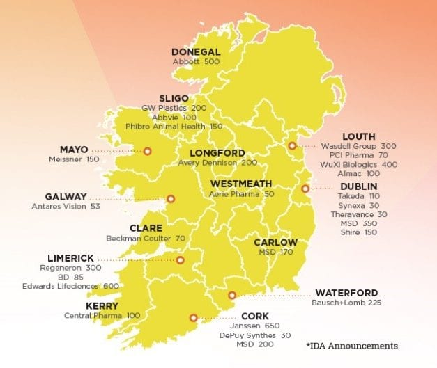 Map of ireland highlighting pharma, biotech and med device job announcements 2017 to 2019